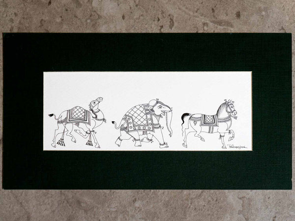 Indian Phad Drawing of an Elephant, Horse & Camel