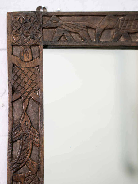 Indian Wooden Mirror with Carved Animals detail