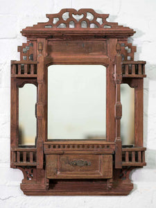 Indian Wooden Mirror with Five Jharokha Balconies