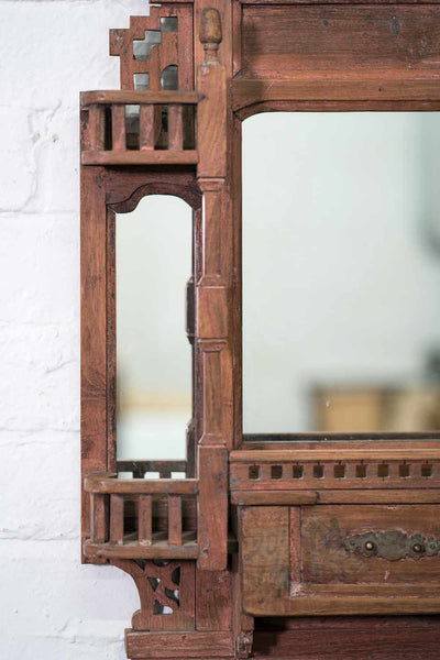 Indian Wooden Mirror with Five Jharokha Balconies detail