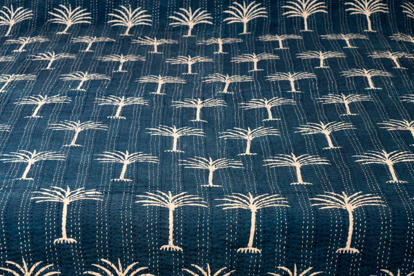 Indigo Palm Trees Indian Double Bedspread detail