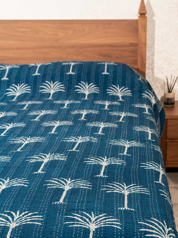 Indigo Palm Trees Indian Double Bedspread