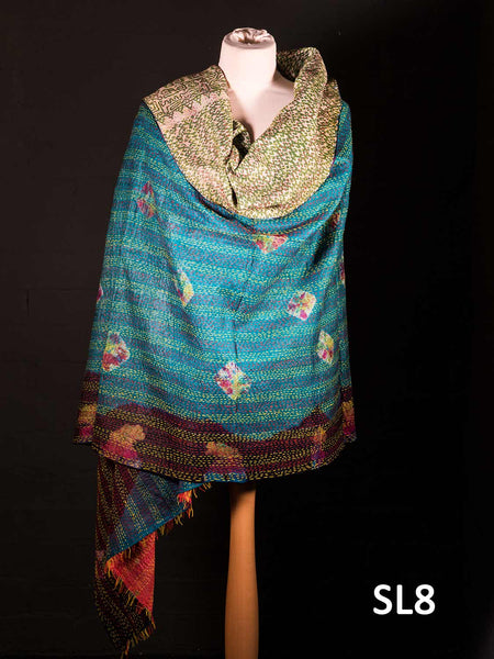Reversible Silk Kantha Shawl