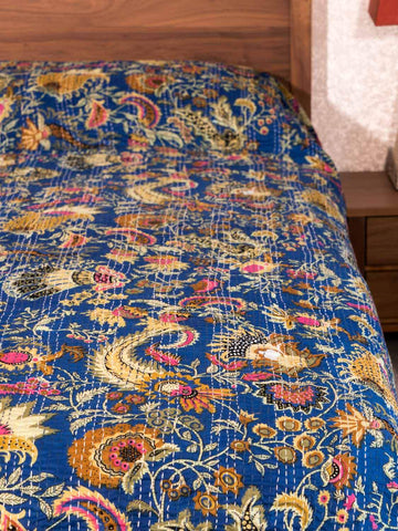Lapis Blue Printed Kantha Indian Bedspread