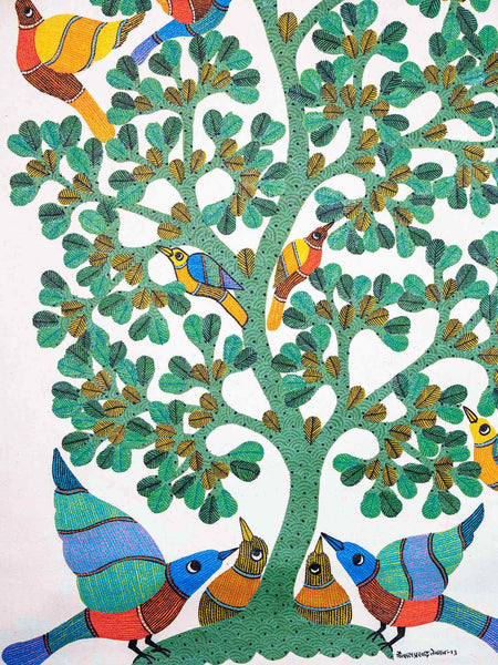 Large Gond Painting of Birds and a Tree
