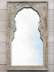 Large Carved White Washed Wooden Mirror