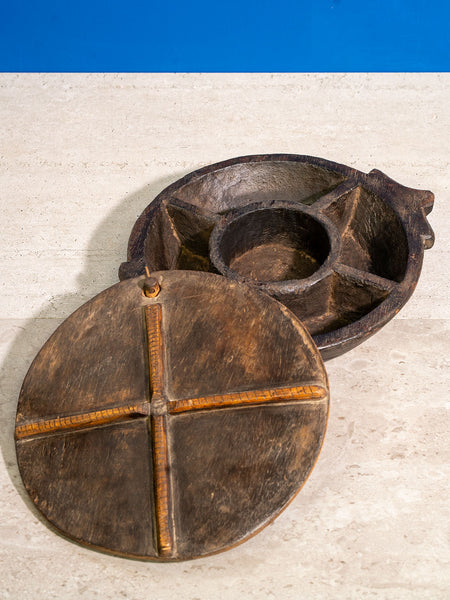 Large Circular Carved Indian Make Up Box