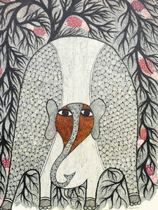 Large Gond Painting of an Elephant in the Forest