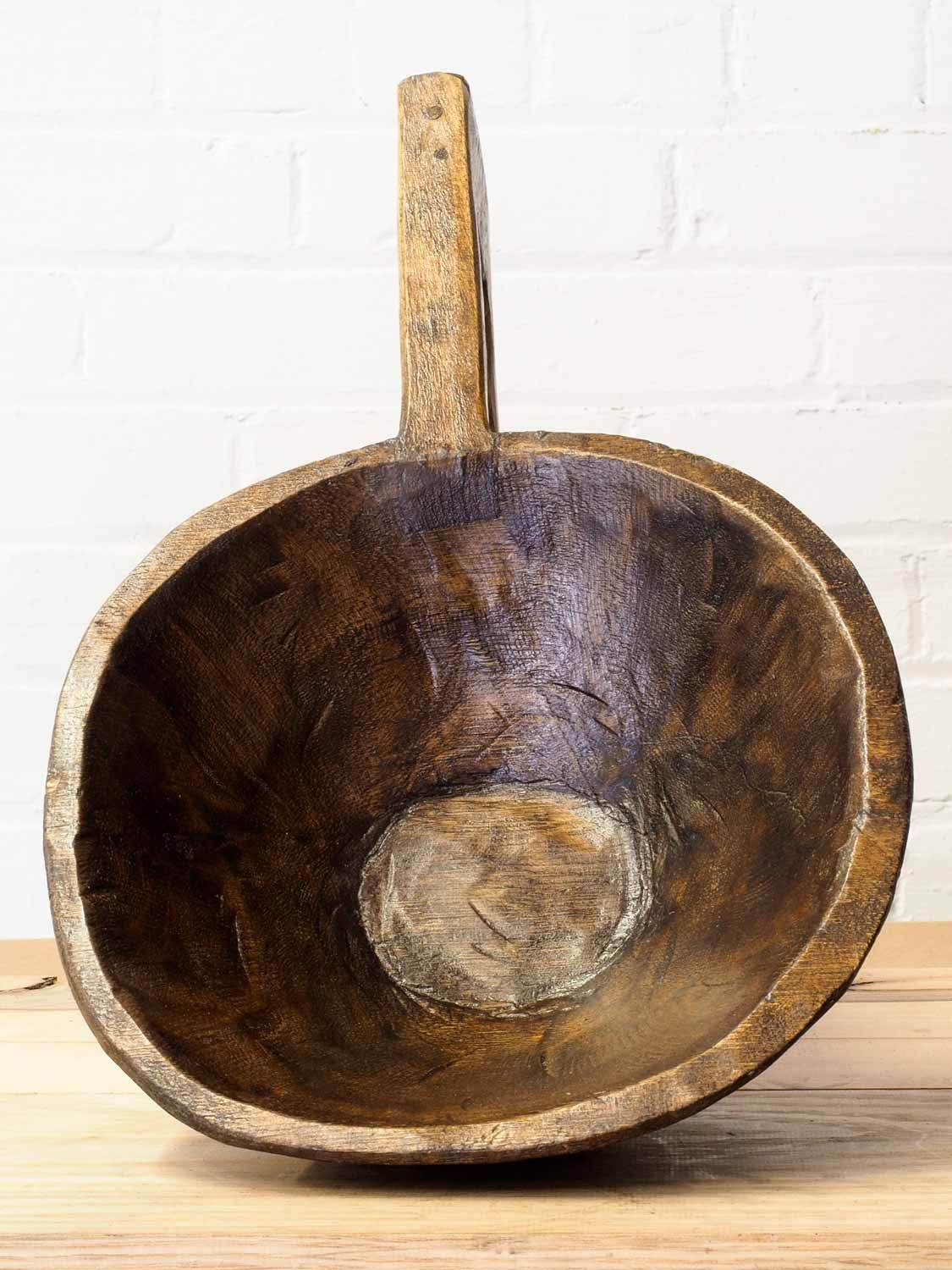 Long Handled Wooden Bowl from India