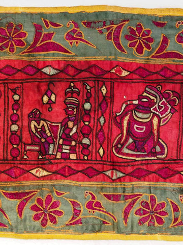 Long Vintage Silk Embroidery from Gujarat