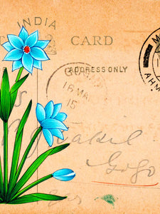 Miniature Painting of a Blue Flower on Vintage Indian Postcard