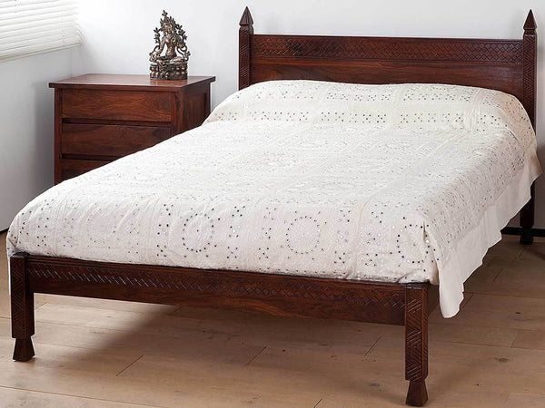 Mirrored & Embroidered White Taj Indian Bedspread