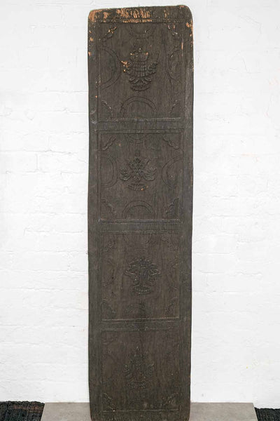 Old Tibetan Carved Panel with Auspicious Symbols