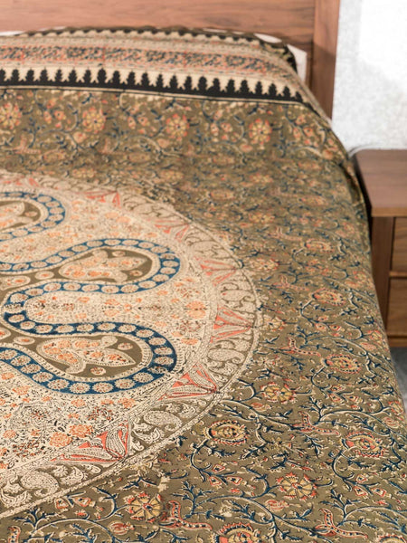 Olive Kalamkari Printed Indian Bedspread