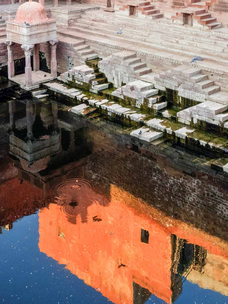 Orange Reflections in the Water, Jodhpur | Stepwell Photos