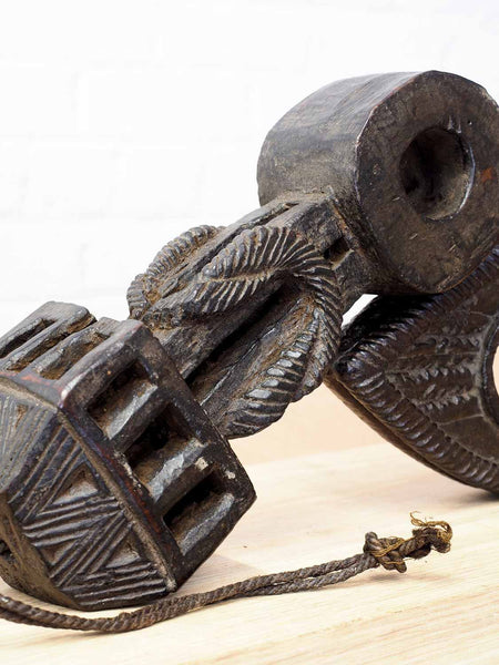 Carved Wooden Neti Butter Churn from Nepal2