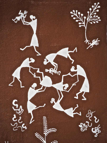 Warli Painting of Village and Childbirth 1
