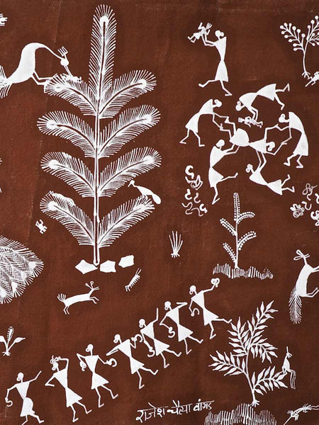 Warli Painting of Village and Childbirth 4