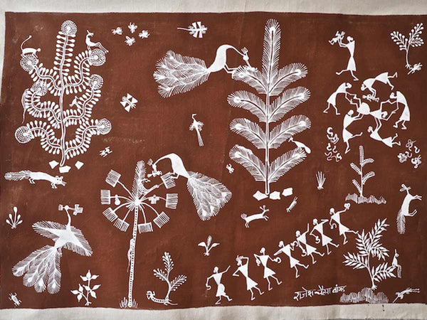 Warli Painting of Village and Childbirth 3