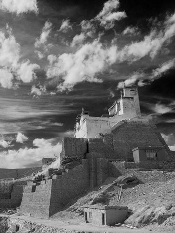 Black and White Photo of Basgo Monastery, Ladakh
