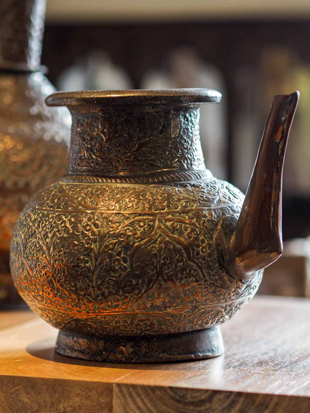 Old Repousse Copper Kettle from Afghanistan