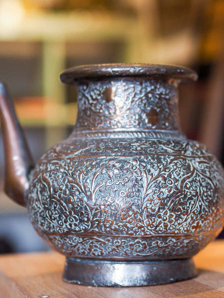 Old Repousse Copper Kettle from Afghanistan 4