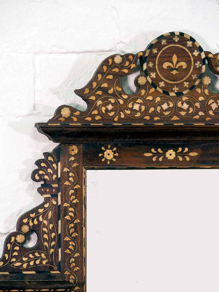 Finely Inlaid Indian Wooden Mirror with Shelves 1