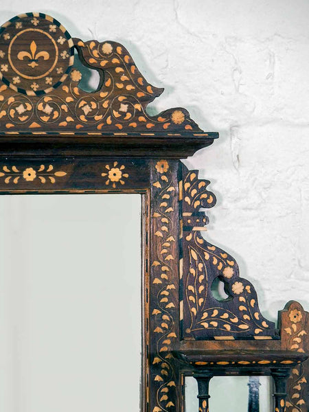 Finely Inlaid Indian Wooden Mirror with Shelves 3