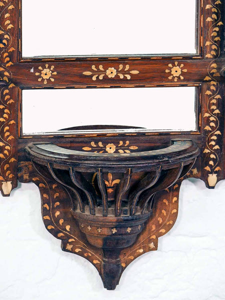 Finely Inlaid Indian Wooden Mirror with Shelves 4