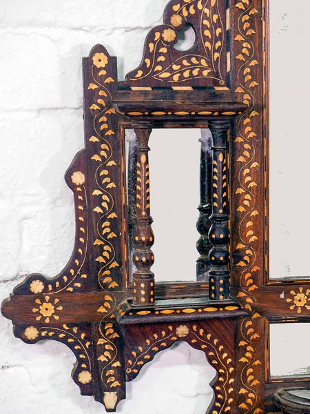 Finely Inlaid Indian Wooden Mirror with Shelves 2