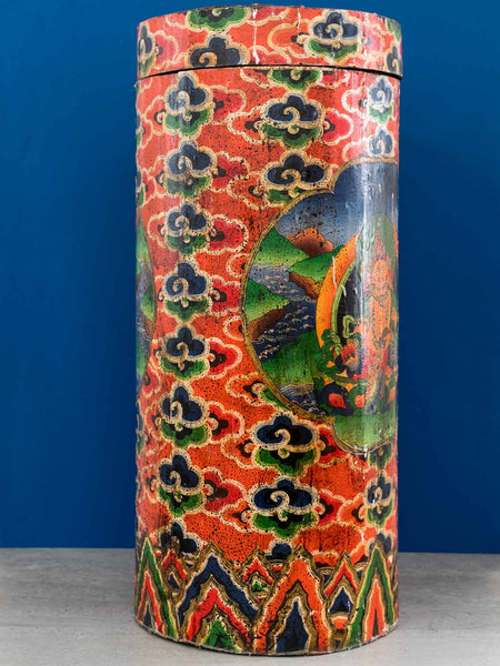 Painted Tibetan Thangka Container