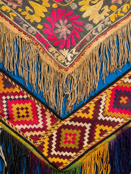 Pair of Embroidered Saye Gosha from Afghanistan, detail