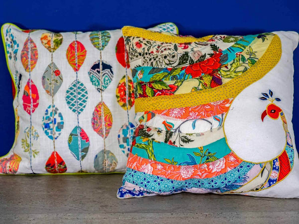 Peacock and Leaf Appliqued Cushion Covers