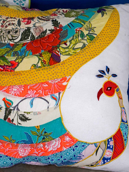 Peacock Appliqued Cushion Covers