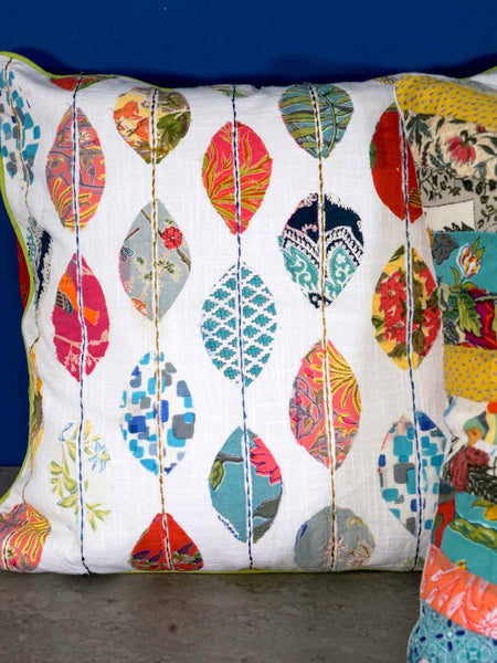 Leaf Appliqued Cushion Covers