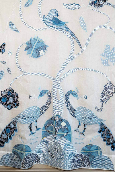 Peacock Curtains, Voile with Blue Embroidery detail