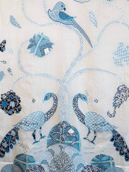 Peacock Curtains, Voile with Blue Embroidery