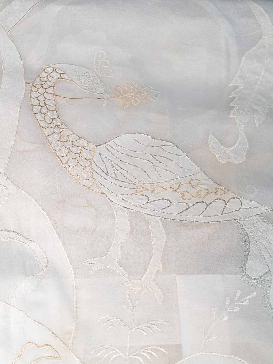 Peacock Curtains, Voile with White Embroidery