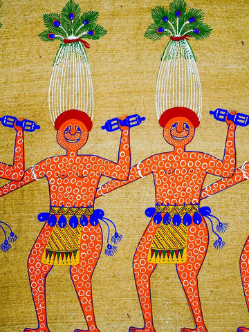 Pithora Painting of Dancers from Gujarat