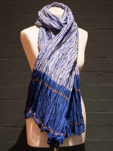 Indigo & Gold Pleated Cotton Scarf