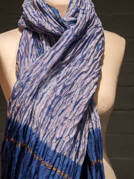 Indigo & Gold Pleated Cotton Scarf detail