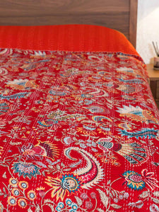 Crimson Red Indian Kantha Bedspread