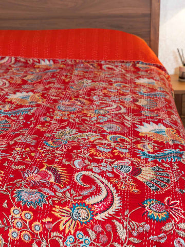 Printed Kantha Indian Bedspread, Crimson Red