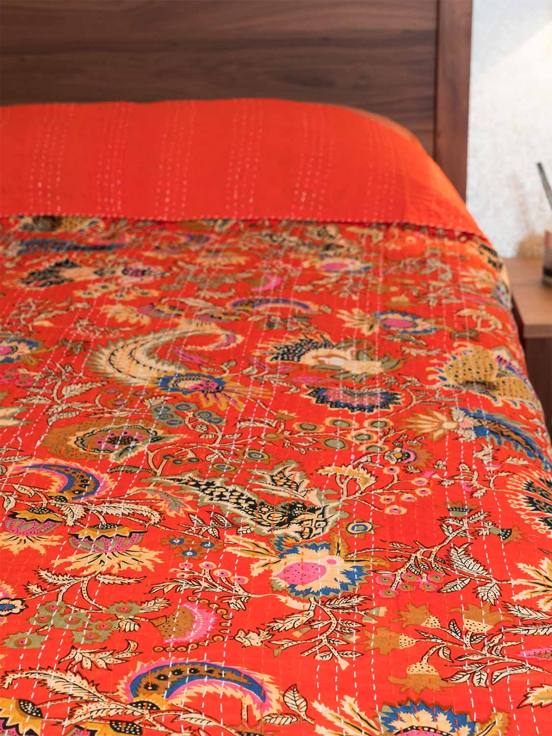 Printed Kantha Indian Bedspread, Scarlet Red
