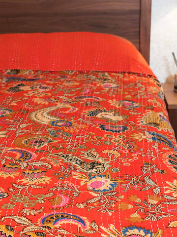 Scarlet Red Indian Kantha Bedspread