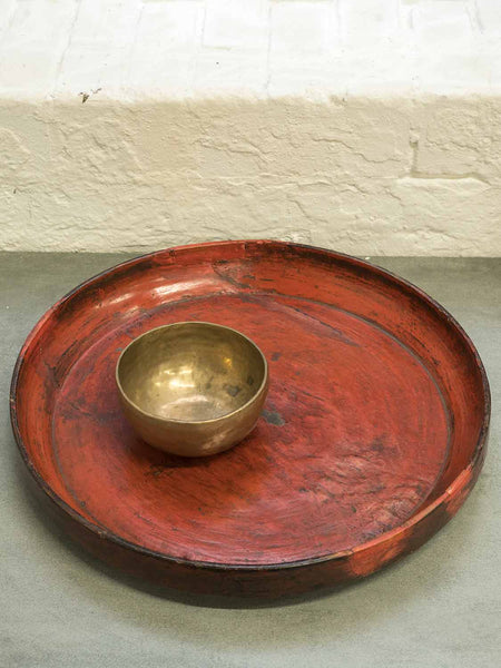 Red Lacquered Tibetan Wooden Tray