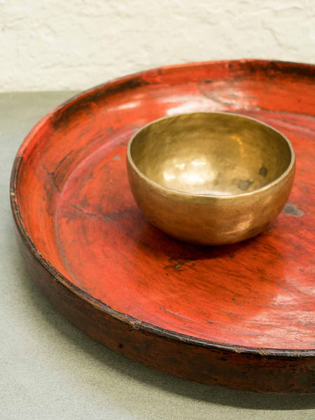 Red Lacquered Tibetan Wooden Tray detail