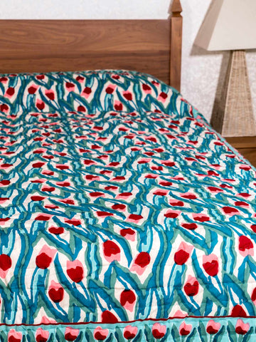 Red & Pink Tulips, Green Leaves Indian Quilt