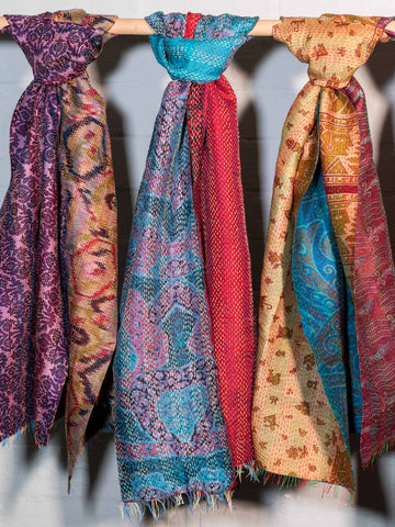 Reversible Kantha Scarves, Assorted Colours detail