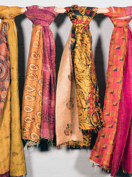 Reversible Kantha Scarves, Bright Colours